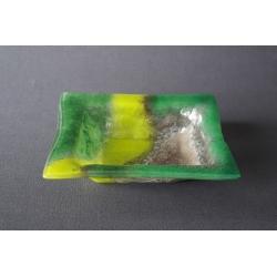Kwadratowa misa - smugi zielone - 20x20 cm
