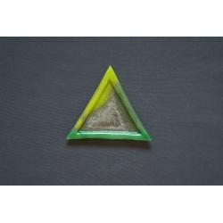 Trójkątny szklany talerz - Smugi Zielone - 23x23x23 cm