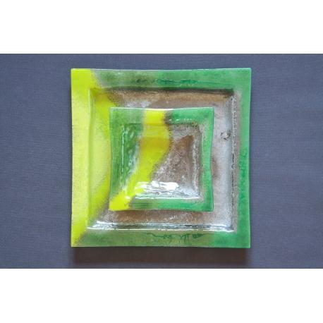 Kwadratowa patera - Smugi Zielone - 35x35 cm