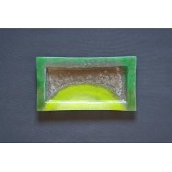 Prostokątna patera - Smugi Zielone - 35x19 cm