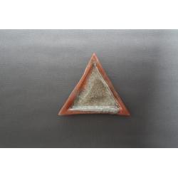 Trójkątny płaski talerz - Brąz + Srebro - 23x23x23 cm