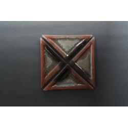 Trójkątny płaski talerz - Brąz + Srebro - 23x16x16 cm