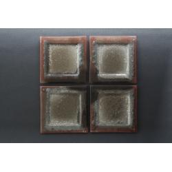 Płaski kwadratowy talerz- Brąz + Srebro - 17x17cm