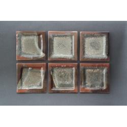 Płaski kwadratowy talerz - Brąz + Srebro - 13x13 cm