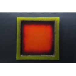 Kwadratowy talerz Wulkan Seledynowy - 35x35 cm