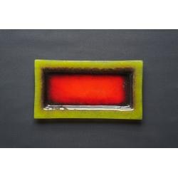 Prostokątny talerz Wulkan Seledynowy - 35x19 cm