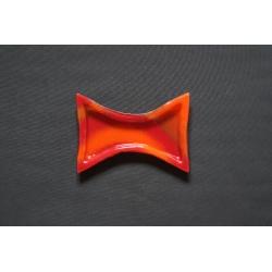 Mały wcięty talerz Smugi Czerwone - 24x17 cm