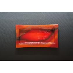 Prostokątny talerz Smugi Czerwone - 35x19 cm