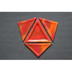 Trójkątny talerz Smugi Czerwone - 23x16x16 cm