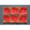 Wygięty talerz Smugi Czerwone - 17x17 cm