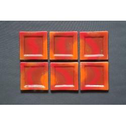 Płaski talerz Smugi Czerwone - 13x13 cm