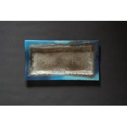 Prostokątny szklany talerz, patera Smugi Niebieskie - 35x19 cm