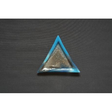 Trójkątny, płaski, szklany talerz Smugi Niebieskie 23x23x23 cm