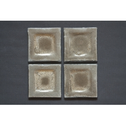 Płaski kwadratowy talerzyk Srebro 17x17 cm
