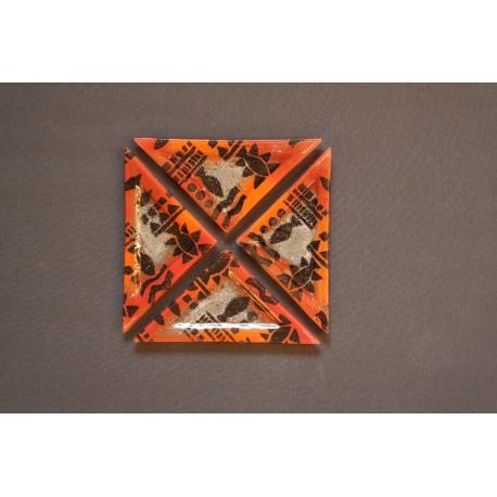Trójkątny szklany talerz 23x16x16 cm Afryka