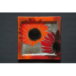 Square Red Flowers Plateau – 35 x 35 cm