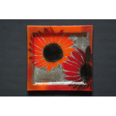 Kwadratowa patera Kwiaty Czerwone 35x35 cm