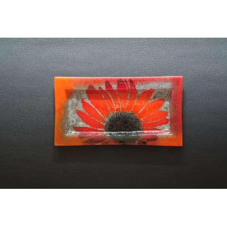 Prostokątna patera Czerwone Kwiaty 35x19 cm