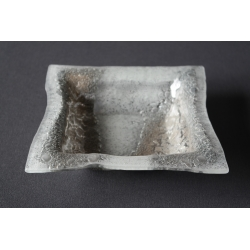 Kwadratowa misa - Biel + Srebro - 20x20 cm