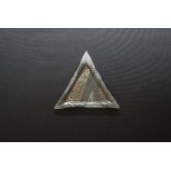 Trójkątny talerz - Biel + Srebro - 23x23x23cm deserowy