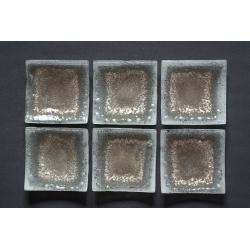Wygięty kwadratowy talerz Biel + Srebro 17x17 cm