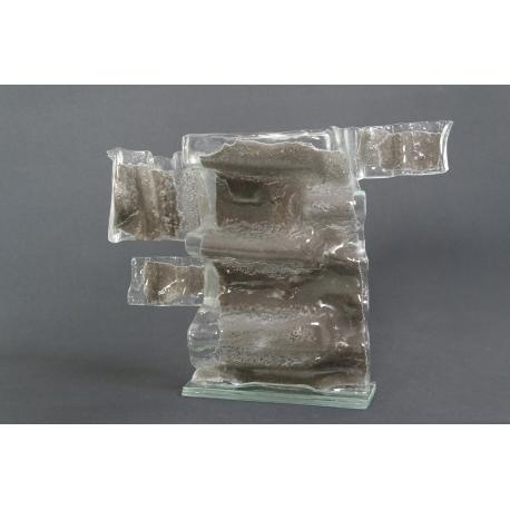 Srebrna duża szklana rzeźba