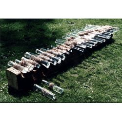 Wooden beam with glass rolls - 220 cm