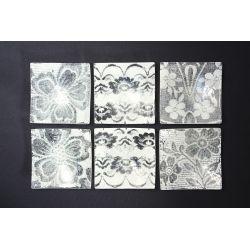 Wygięty kwadratowy talerzyk Koronka Zośka biała - 17 cm