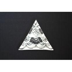 Trójkątny talerz koronka biała Lena 23x23x23
