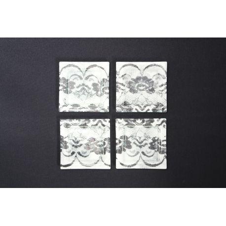 Płaski kwadratowy talerz Koronka biała Lena - 13x13 cm