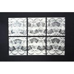 Płaski kwadratowy talerz Koronka biała Lena 17x17 cm