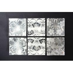Kwadratowy wygięty talerzyk Koronka biała Lena 17x17 cm