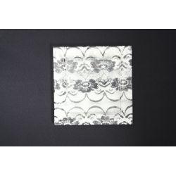 Płaski kwadratowy talerz Koronka biała Lena 27x27 cm